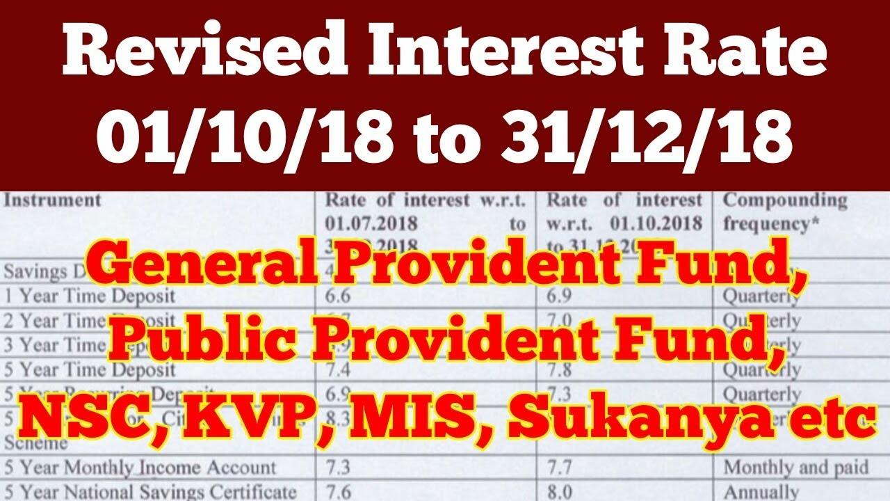 Oct Dec 2018 New Interest Rate Ppf Gpf Nsc Kvp Mis Sukanya Etc