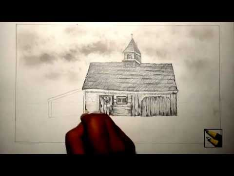 How To Draw An Old Barn Farm House Part 1