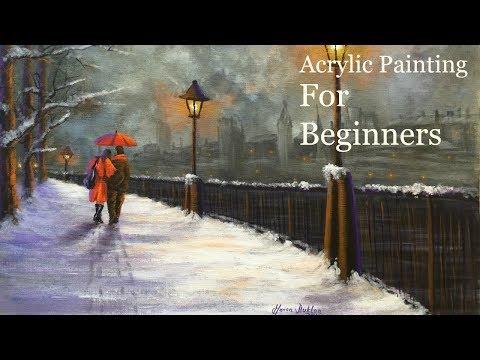 Acrylic Painting Tutorial for Beginners Lamplight Love Speed Painting & Voice over - Paint with Maz