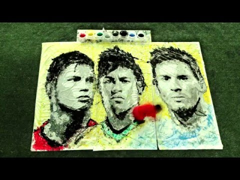 Rapariga Desenha Retratos Perfeitos de Ronaldo, Neymar e Messi… Com Uma Bola de Futebol!