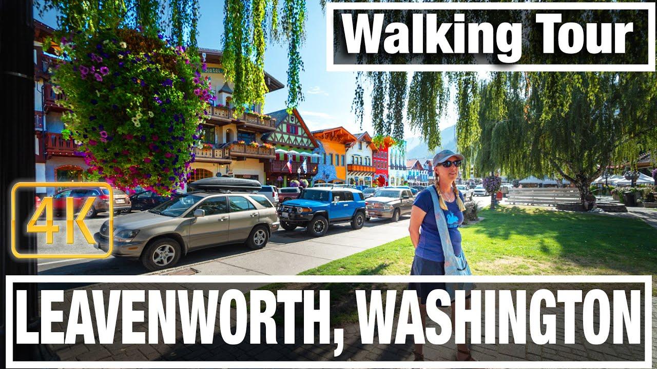 4K City Walks: Leavenworth Washington - Bavarian Town  - Virtual Walk Walking Treadmill Video