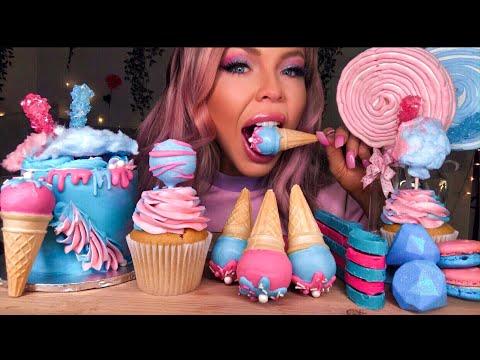 ASMR COTTON CANDY CAKE, ICE CREAM CAKE POPS, SPOONS, BOBA, JEWELS, MARSHMELLOW LOLLIPOP MUKBANG 먹방