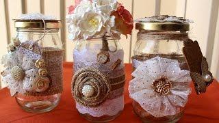 Burlap & Lace Mason Jars- Style2