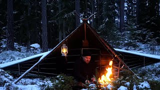 3 Days Winter Bush¢raft in Snow and Ice - Canvas Poncho Shelter - Sleeping on Reindeer Skin