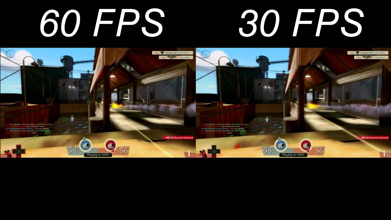 Side by side Comparison of 60FPS and 30FPS