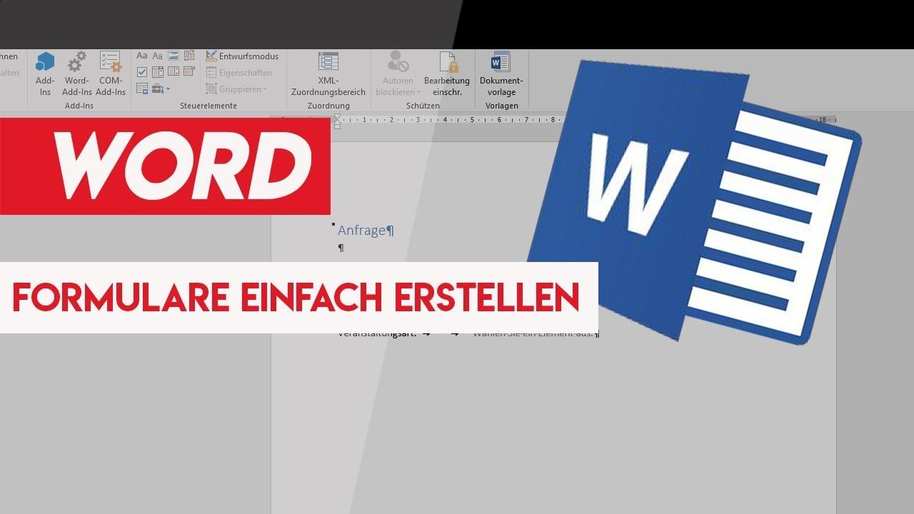 FORMULARE EINFACH ERSTELLEN - Word 2016 - YouTube