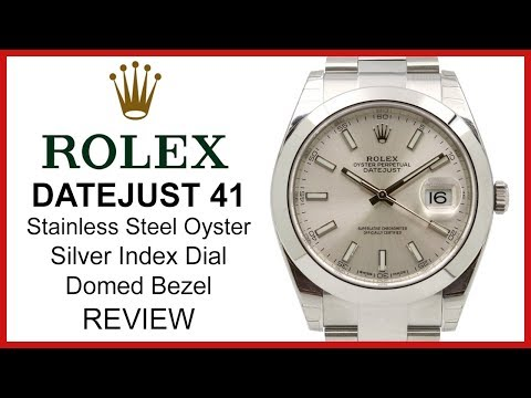 Rolex DATEJUST 41: stainless steel, silver index Dial, smooth domed Bezel, Oyster - REVIEW 126300