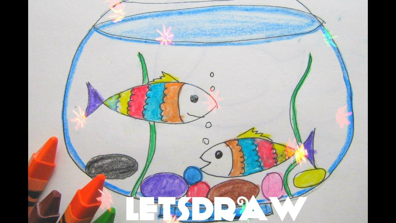 балан рисунок рыб в аквариуме красками покажем