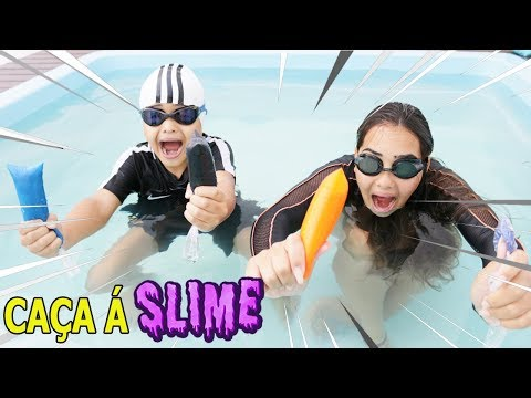 DESAFIO ENCONTRE OS INGREDIENTES DO SLIME NA PISCINA - Find Your Slime Ingredients Challenge!!!