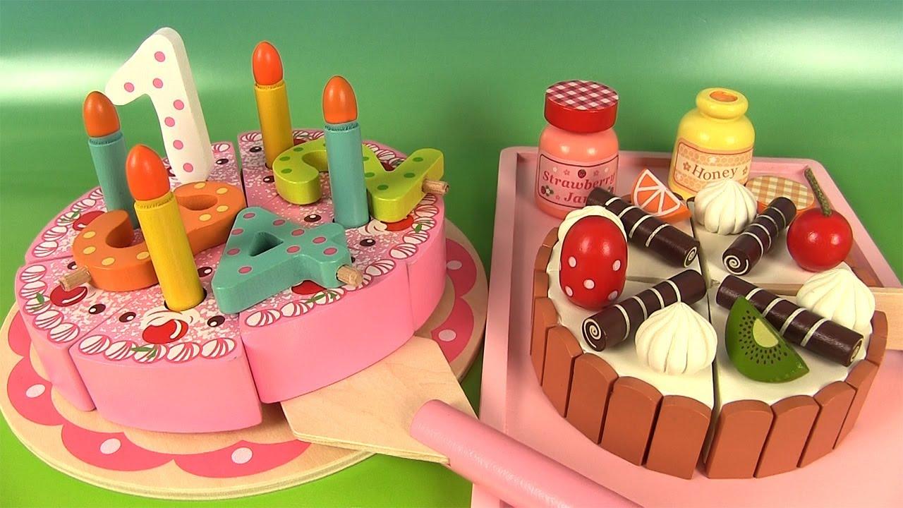 Gâteau d'Anniversaire en bois découper Birthday Cake Toy Velcro Cutting Food - YouTube