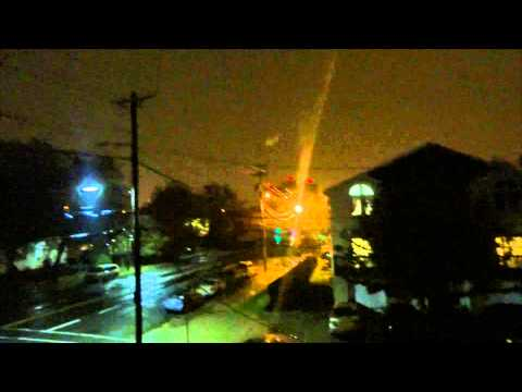 RAW: Power Surge from Hurricane Sandy in Bayonne / Jersey City