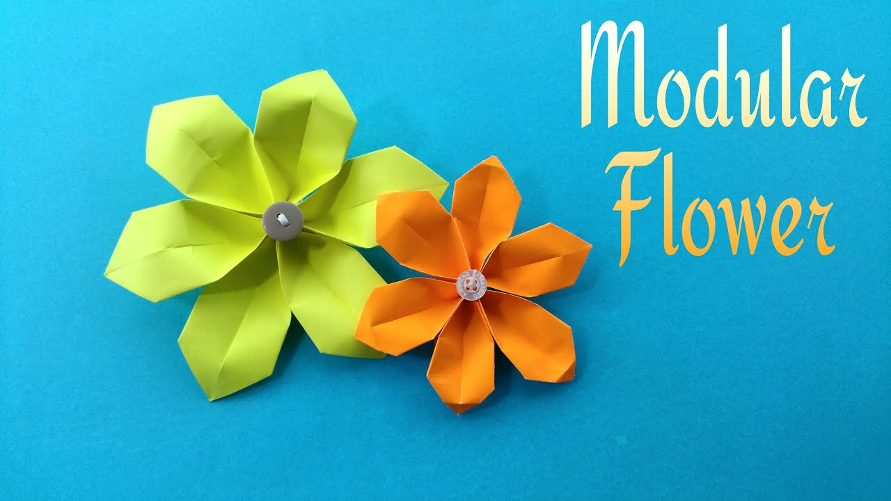 How to make an easy paper modular flower for mothers day how to make an easy paper modular flower for mothers day origami tutorial youtube mightylinksfo