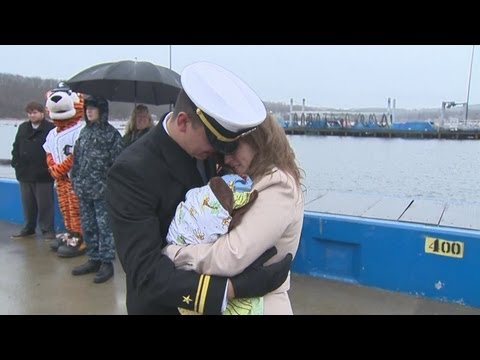Families Reunite At Naval Submarine Base In New London