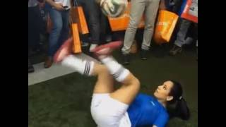 Sexy Girl Amazing Playing With Football In Public Place