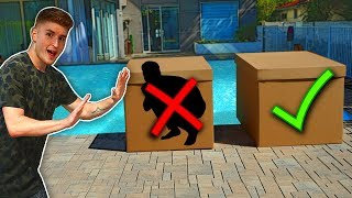 Don't Push The WRONG MYSTERY BOX Into The Pool! - CHALLENGE