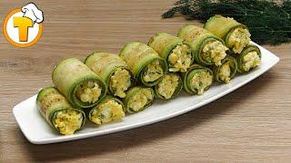 Рулетики из кабачка - рецепт вкусной закуски. (Пошаговый рецепт.)