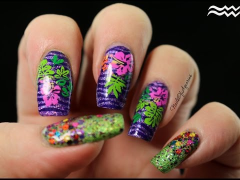 hd multicolor stamped tropical flowers nail art tutorial