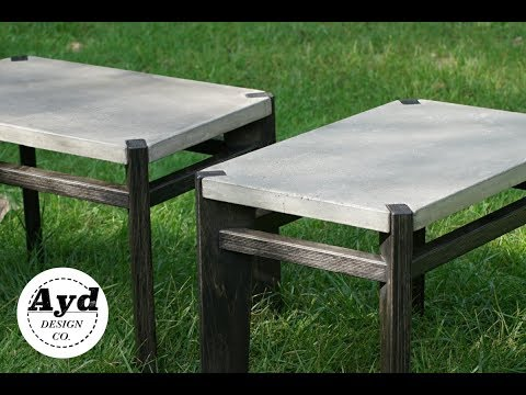 Modern Interlocking CONCRETE and WOOD Side Tables | DIY End Table Build