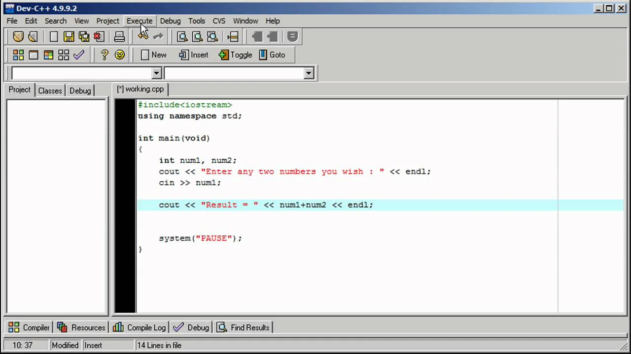 Math Functions and Operators in Dev-C++