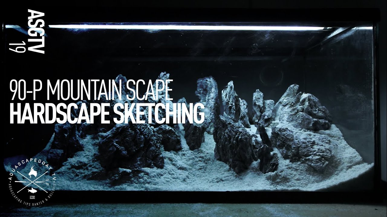 90 P Mountain Iwagumi Aquascape   Step By Step Hardscape Sketching   YouTube