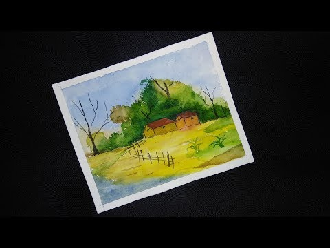 Village House Landscape Tutorial / Watercolor painting for beginners/ paint with aditya