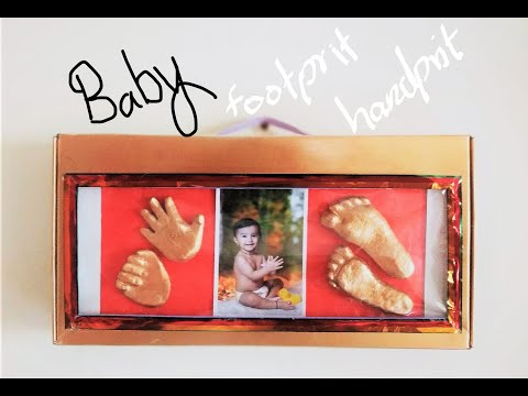 How To Make Baby 3D Hand & Foot Casting Using Flour | Reuse Baby Product Box For Frame