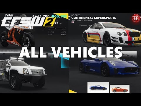The Crew 2: FULL CAR LIST (All Cars, Bikes, Planes, And Boats)