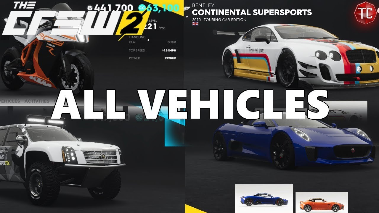 The Crew 2 Full Car List All Cars Bikes Planes And Boats Youtube