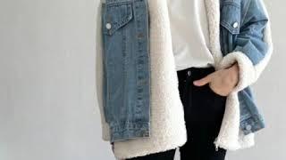 스타일리쉬한 뽀글이 양털데님자켓 재킷