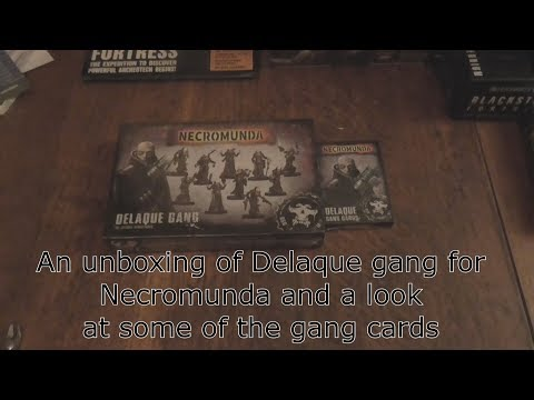 An unboxing of Delaque gang for Necromunda and a look at some of the gang cards to