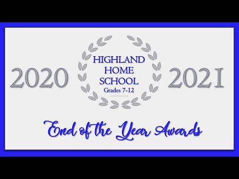 Highland Home School 2020-2021 High School Awards