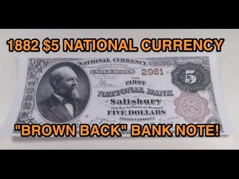 "1882 $5 ""Brown Back"" National Currency Bank Note"