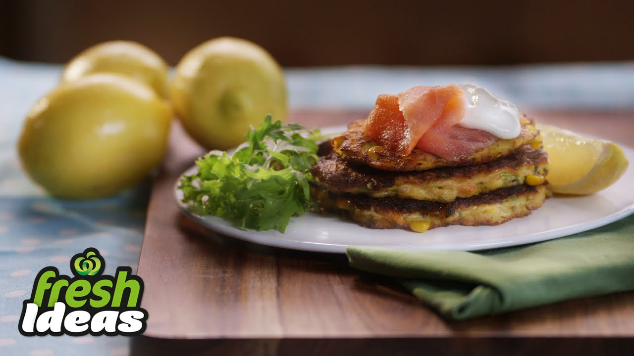 Carrot And Zucchini Fritter Recipe With Smoked Salmon And Tzatziki Woolworths Fresh Ideas Youtube