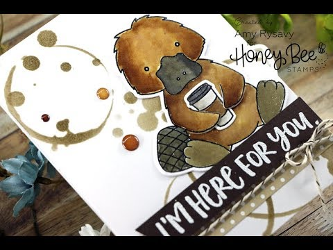 Honey Bee Stamps Perk Up Platypus | Distress Ink Watercolor