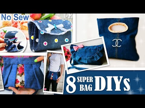 8 EPIC DIY PURSE BAG DESIGNS YOU CAN EASY MAKE OUT OF OLD JEANS // Cute DIY Bag Tutorials Ever