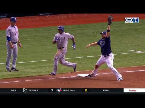 Carlos Gomez tries to throw Adrian Beltre out at first from right field