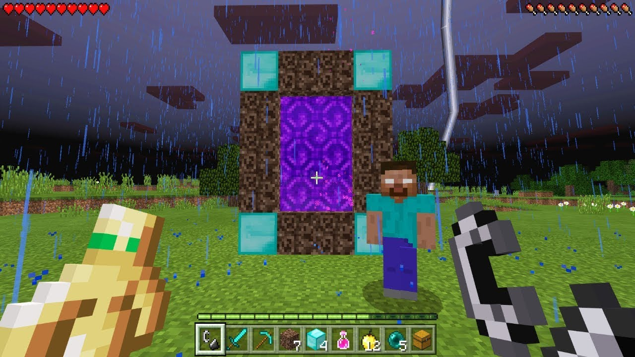 Making A Portal To Herobrine S Dimension In Minecraft Pocket Edition Herobrine Survival Ep 2 Youtube