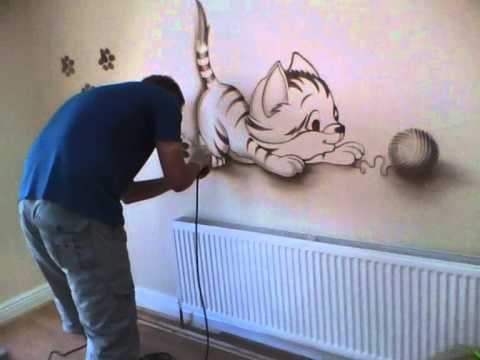 Dantestudio wall mural presentation youtube for Airbrush mural painting