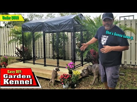 DIY Outdoor Garden Kennel Setup Under $500 - XL American Bully Tested - She's Gonna Love It Bro...