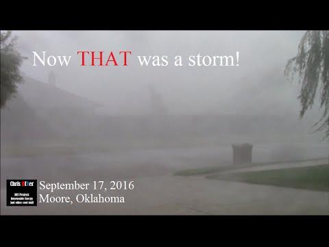 ⛈ Moore, Oklahoma storm (Sep 17, 2016) Wind, lightning, thunder, hail, rain, a fire truck, rainbow