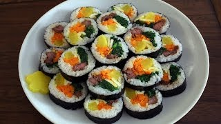 How To Make Gimbap (aka Kimbap: 김밥) English Caption: 영어자막