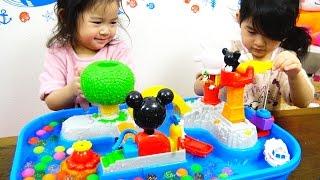 ●普段遊び●まったりバージョン♪ミッキーマウス ウォーターテーブルで遊んだよ♡ おもちゃ 水遊び まーちゃん【4歳】おーちゃん【2歳】