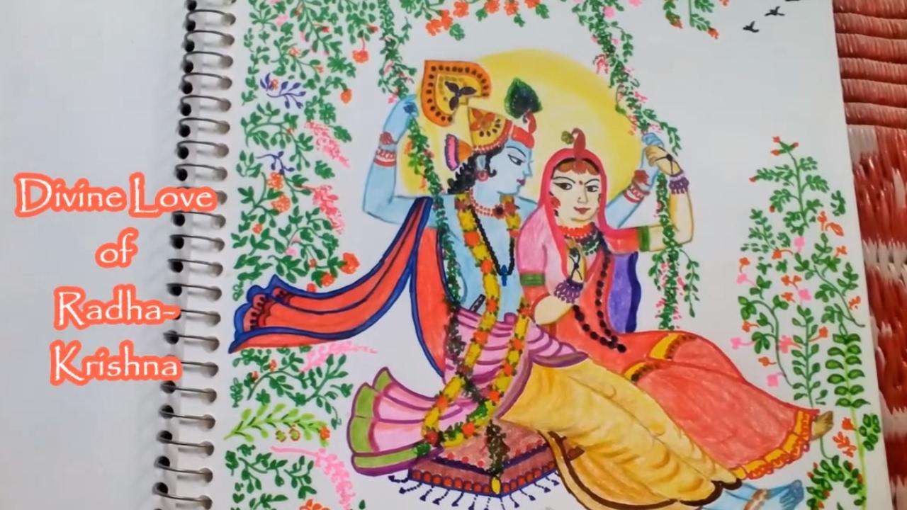 drawing radha krishna on a swing youtube
