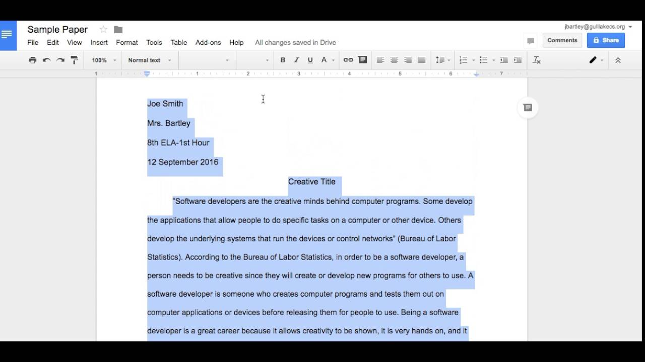 setting up your paper using mla format setting up your paper using mla format