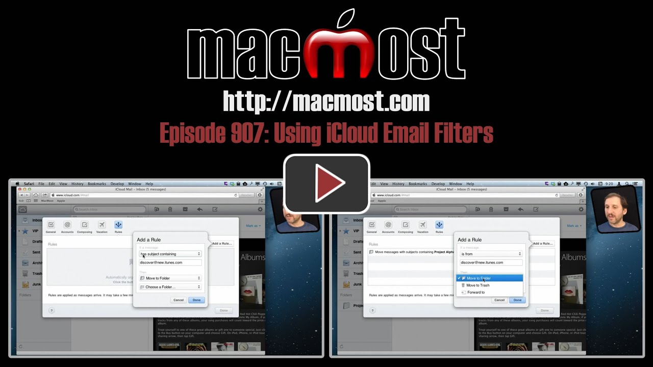 Using iCloud Email Filters (MacMost Now 907) - YouTube