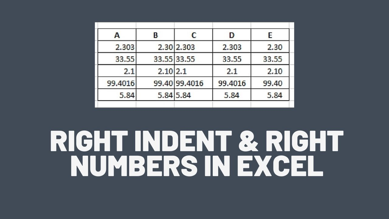Right Align & Indent Numbers in Excel - Excel Tips - Excel TV