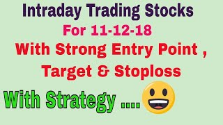 Intraday Trading Stock tips for tomorrow # Strong level in hindi with Strategy | 10-12-18 ||TT