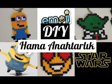 Kendin Yap Anahtarlık /Hama Star Wars /Emoji /Minions /DIY Hama Keychain