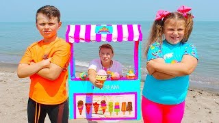 Kids compete on the beach for ice cream