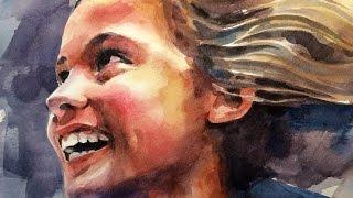 Watercolor portrait time lapse SPEED PAINT by Ch.Karron
